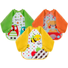YOOAP Bibs with Sleeves EVA Baby Bib  Waterproof Unisex Long Sleeved Bandana Drool for Infant