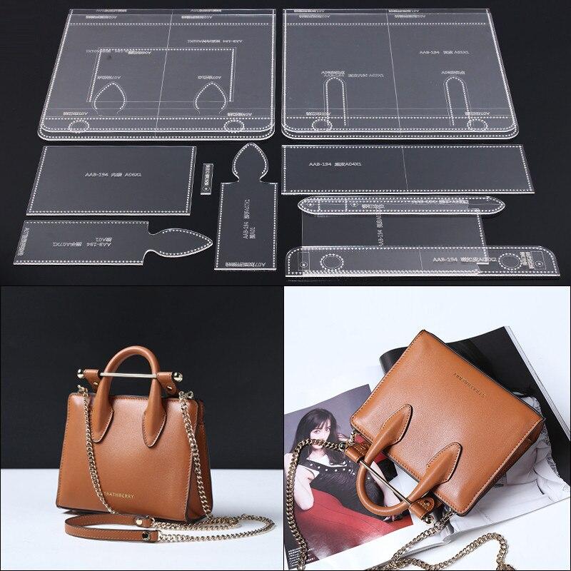 1Set DIY Leather Sewing Bag Stencil Acrylic Leather Template Lady Handbag Shoulder Bag Sewing Pattern 29.5*24*10cm