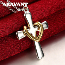 925 Silver Color Heart Cross Pendant Necklace For Women Fashion Silver Plated Top Quality Necklace Jewelry new fashion silver color jewelry high quality fashion 925 silver jewelry heart pendant necklaces