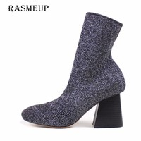 RASMEUP Women's Knitting Elastic Sock Boots 2018 New Fashion Women Pointed Toe High Heel Mid Calf Boots Woman Stretch Sexy Shoes