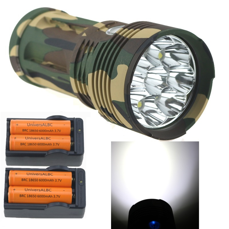 Waterproof Hunting Tactical Led Flashlight 10000 Lumen 8xCree XML T6 Led Lantern Torch Lamp + 4x18650 Battery + 2xCharger high lumen led flashlight 4 2v cree xml t6 2 18650 battery 5 modes focalize flash lamp 2 18650 batteries battery charger