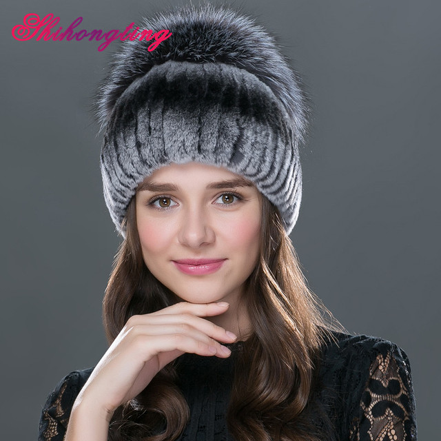 Женские зимние кожаные красочные головные уборы с рекс кролика и silver fox меховой Российские новые наушники теплые модные шапки