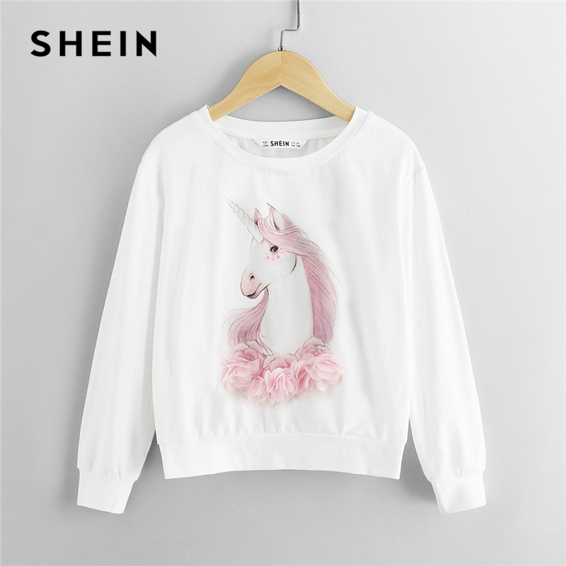 SHEIN White Lace Appliques Animal Children Sweatshirts For Girls Tops 2019 Spring Fashion Long Sleeve Pullover Kids Sweatshirt lantern sleeve patch sweatshirt