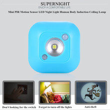 SuperNight PIR Motion Sensor LED Light Human Body Dual Induction Light Control Closet Cabinet Stairs Corridor Toilet Night Lamp