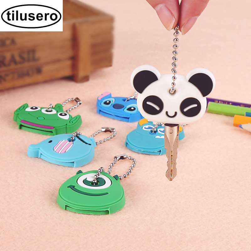 8PCS/Lot Cute Anime Cartoon Silicone Stitch Minion Key Cover Key Caps With Keychain Key Holder F0328PCS/Lot Cute Anime Cartoon Silicone Stitch Minion Key Cover Key Caps With Keychain Key Holder F032