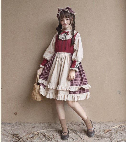 Vintage European Lolita Dress Sweet Patchwork Plaid Bow Ruffles Long Sleeve Knee Length Short Dresses Lolita