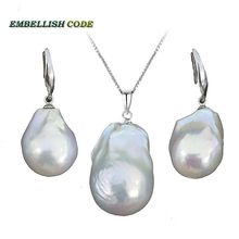 baroque pearl sets hook earrings and pendant plus size 100% natural freshwater Cultured pearls all 925 Sterling Customized