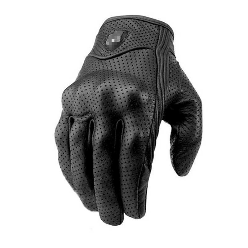 Prix pour Moto gants en cuir véritable pleine doigt noir moto hommes motorbicycle de protection engrenages coupe-vent motocross gant de mode
