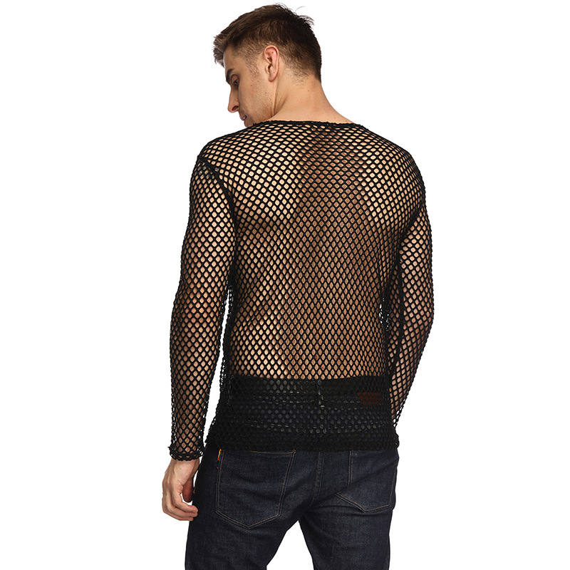 Mens Transparent Sexy Mesh T Shirt 2019 New See Through  Fishnet Long Sleeve Muscle Undershirts Nightclub Party Perform Top Tees 3