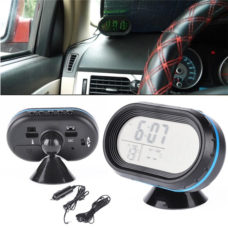 BYGD 3 In 1 DC 12 V Digital Car Voltmeter Thermometer Temperature Meter Alarm Clock Battery Monitor Led Dual Display hot selling