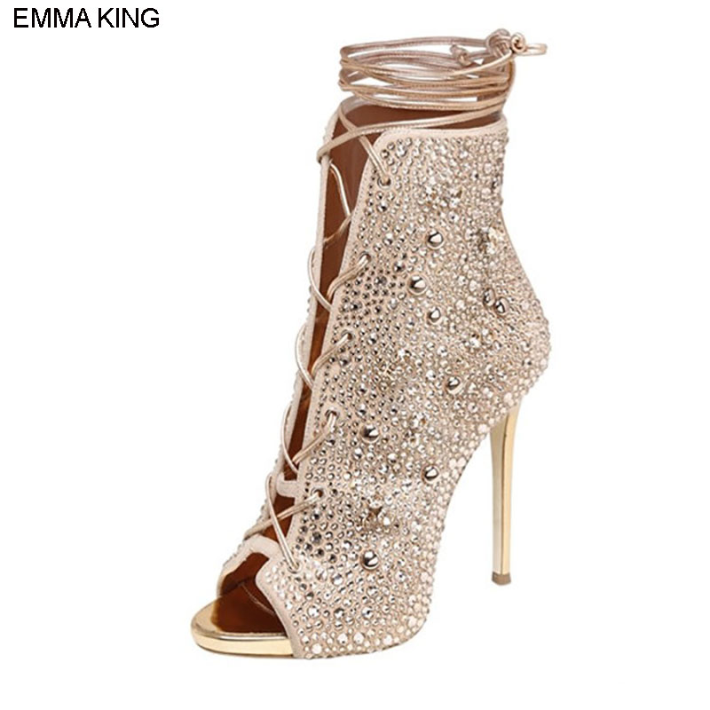 EMMA KING 2018 Fashion Spring Autumn Crystals Solid Lace up Sexy High Heels Party Mental Thin Heels Wedding Party Peep Toe BootsEMMA KING 2018 Fashion Spring Autumn Crystals Solid Lace up Sexy High Heels Party Mental Thin Heels Wedding Party Peep Toe Boots