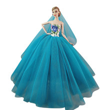 NK One Pcs 2019 Newest Doll Lace Fashion Wedding Dress Princess Gown For Barbie  Doll Best gift 071E 7f562a623f2b