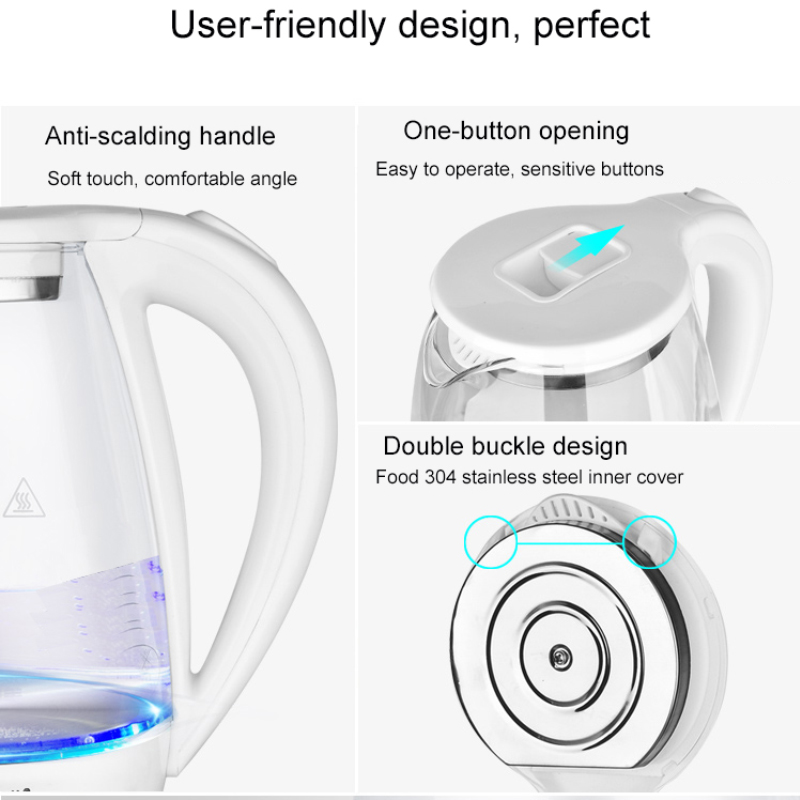 2L Glass Electric Kettle Auto Power Off Water Boiler Glass Blue Light Heating Kettles Stainless Steel Anti hot Electric Teapot in Electric Kettles from Home Appliances