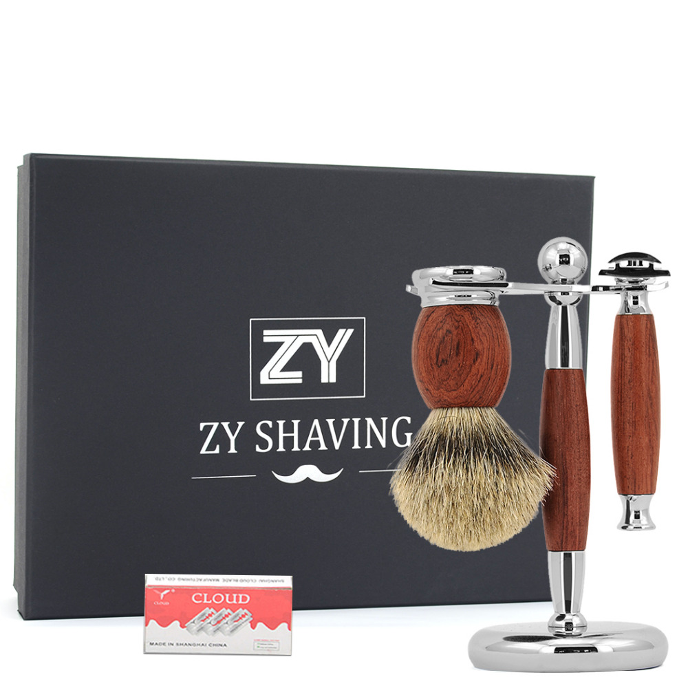 New Men's Rosewood Adjustable Classic Safety razor Shaving Razor Set Razor Brush Stand Badger Hair Brush With Gift Box Packging titan razor set with natural green sandal wood safety razor top silver badger hair with gift package