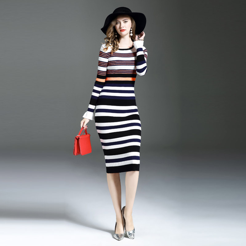 Winter Dress Female O-Neck Long Sleeve Knitted Dress Woman Stripe Sweater Dresses Sweaters Pullovers Women Midi Bodycon Vestidos 2017 autumn winter turtleneck sweater dress women sexy hollow out bodycon long sleeve ribbed knitted dresses vestidos