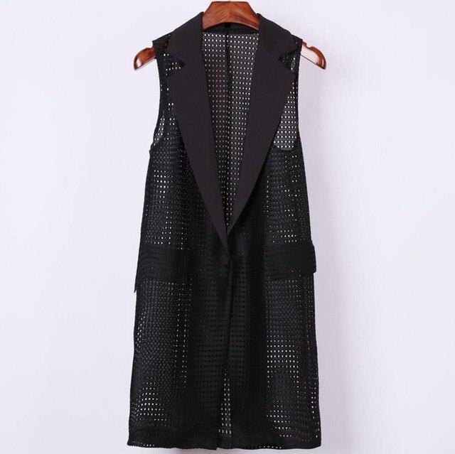 Большие размеры 4XL женский, Черный Длинные полый жилет пальто europen Стиль жилет без рукавов Куртка Большой пиджаки топ, жилет одежда Roupa женский