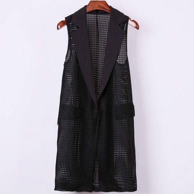 Плюс размер 4XL Женщины Черный Длинные Полые Жилет Пальто Европейский Стиль Жилет Безрукавка Большой Пиджаки Топ Жилет Roupa Женский