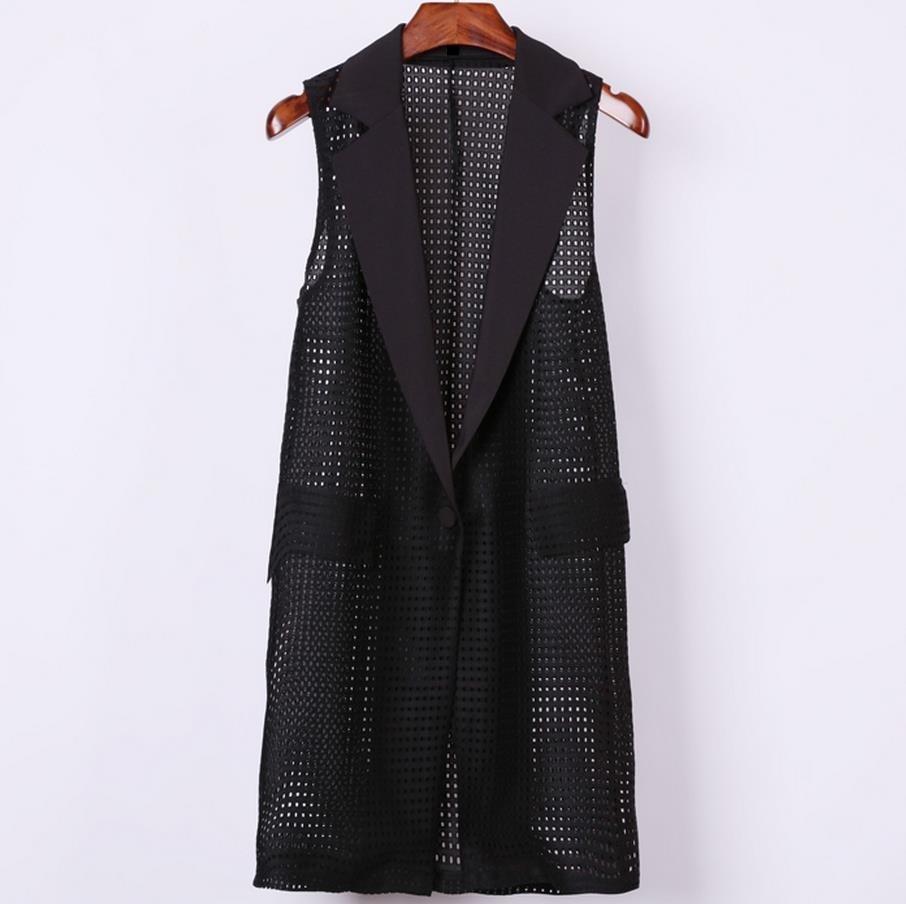 Plus Size 4XL Women Black Long Hollow Vest Coat Europen Style Waistcoat Sleeveless Jacket Large Outwear Top Vest Roupa Female