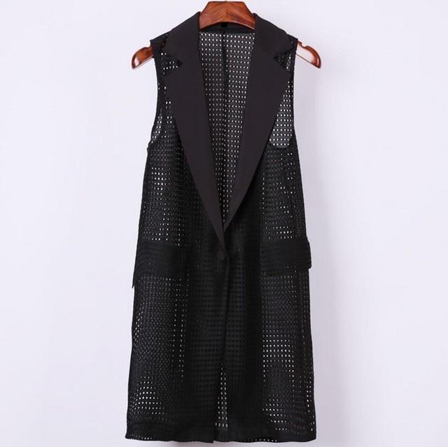 e11e66673c5ec1 plus size 4XL Women Black Long Hollow Vest Coat Europen Style Waistcoat  Sleeveless Jacket Large Outwear Top Vest Roupa Female