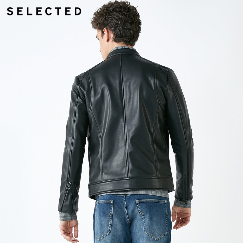 Image 3 - SELECTED Stand up Collar Leather Jacket Men's Zip through PU Jacket S  4184P3506-in Faux Leather Coats from Men's Clothing