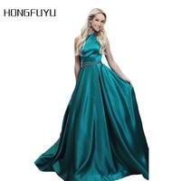 Robe Marriage Satin Halter A Line Long Evening Dresses 2018 Sleeveless Backless Beading Floor Length Evening