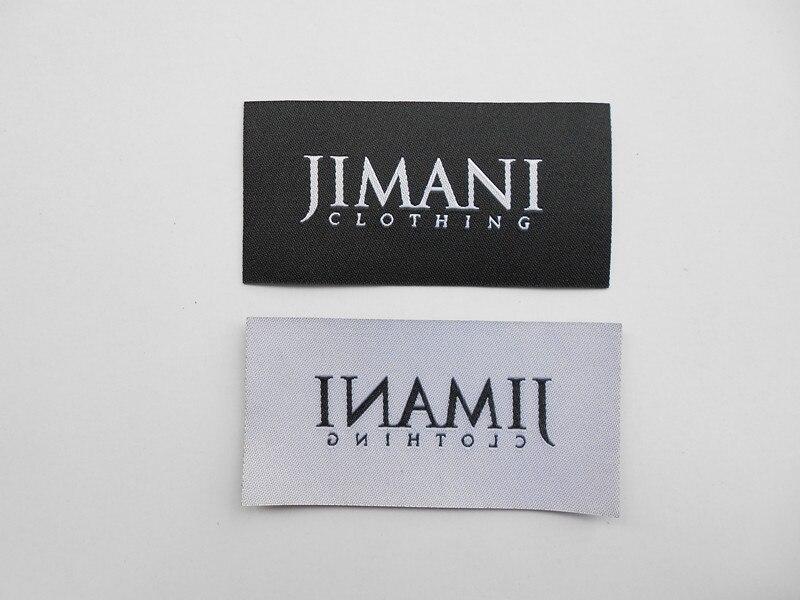 1000 pcs/paquet personnalisé fer sur damassé polyester tissu tissé étiquette droite laser coupe étiquettes thermofusible colle chauffage vêtement étiquettes