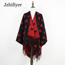 jzhifiyer YX171 lashion cape 440grams cashmere loves pattern tassel shawls poncho thick material winter capes oversized outwear