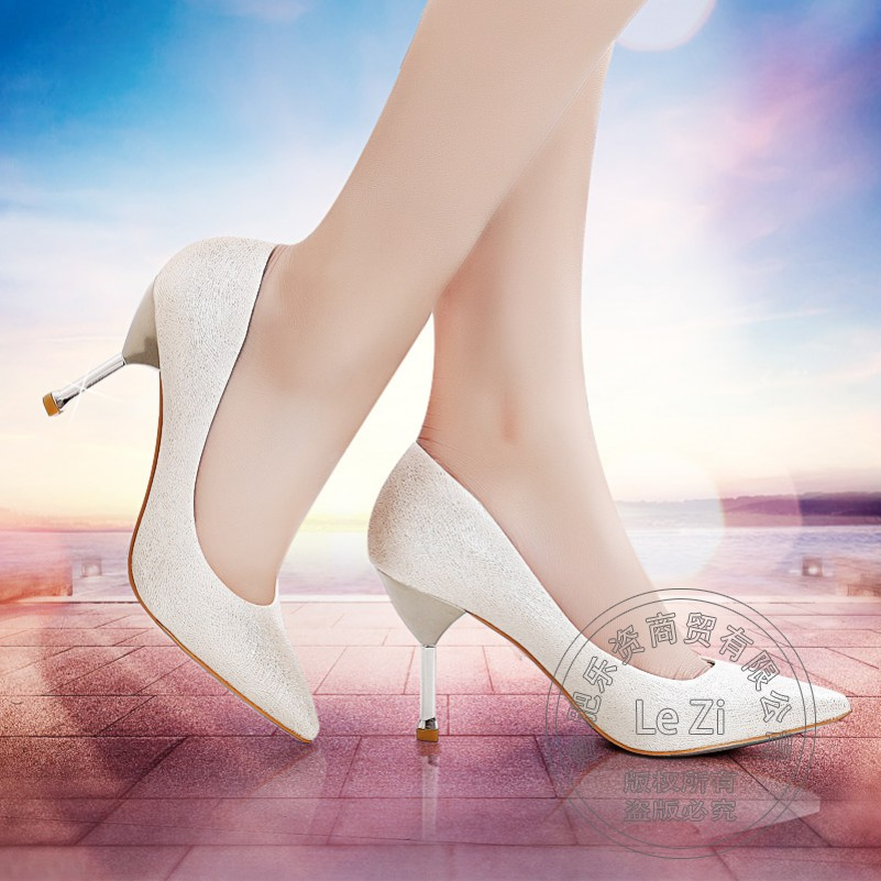 ФОТО Comfortable Glossy For Women Nightclub Pointed Toe Sexy Low Cut Uppers Metal Cuban Heel Stiletto Women's Single Shoes With Heels