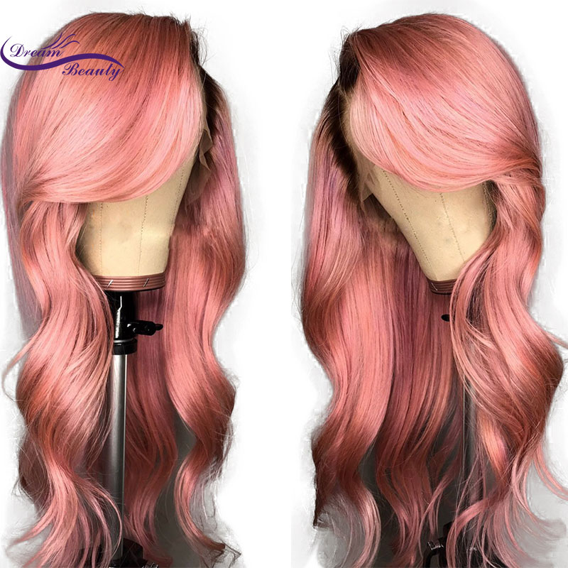 omber Color Lace Front Wig Remy Brazilian Human Hair Wigs With Baby Hair 1B Pink body