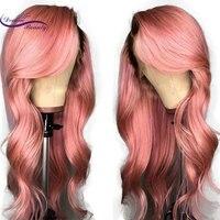 Omber цвет синтетические волосы на кружеве парик Remy бразильские человеческие волосы Искусственные парики с ребенком волос 1B/розовый средства