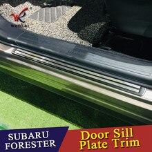 Alféizares de puerta exterior de acero inoxidable, placa protectora, cubiertas de molduras de umbral, 2 uds para Subaru Forester SK 2018 2019