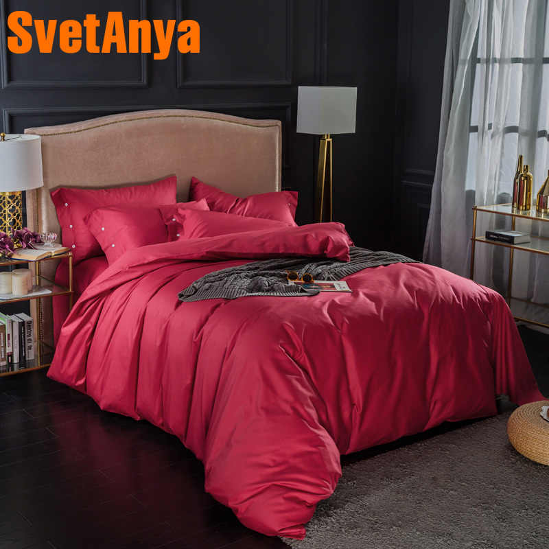 Svetanya 100 Cotton Bedding Sets Red soild Color Bedsheet Pillowcases Quilt cover set Twin Queen King Double Size Bed Linens