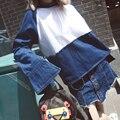 [XITAO] outono nova chegada comprimento forma solta patchwork cor O-pescoço pullovers streetwear regulares femael denim camisola NNB-047