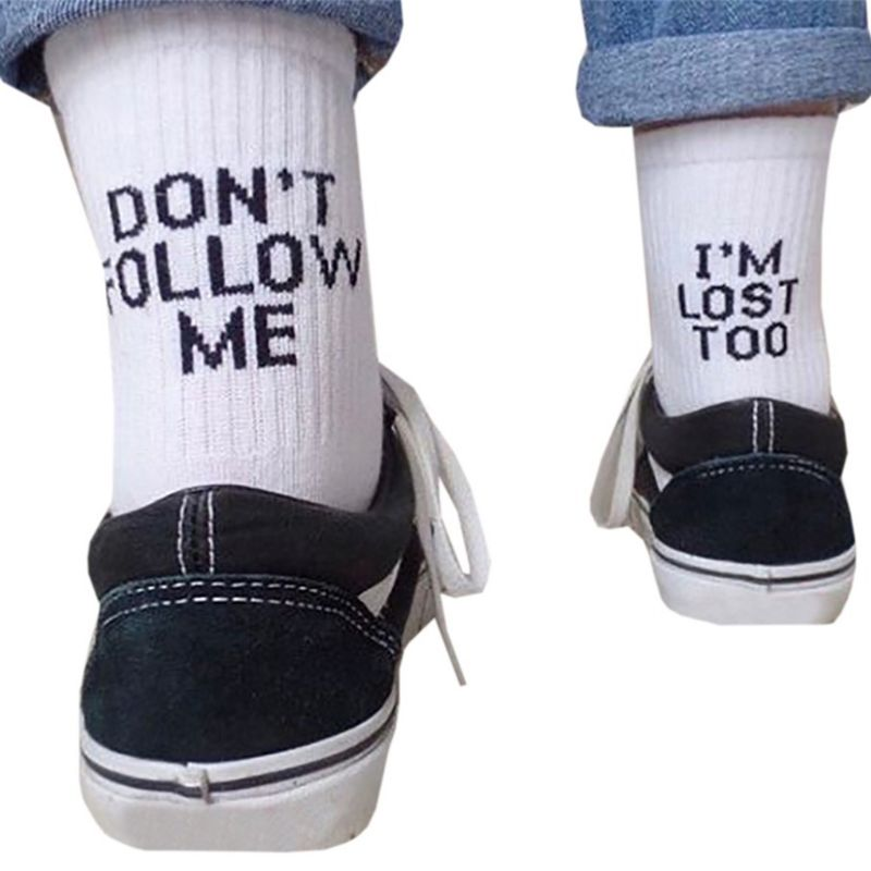 Unisex Funny   Socks   Word Letter Print Cotton Long Crew   Socks   Message Hip Hop Skateboard Soft   Socks