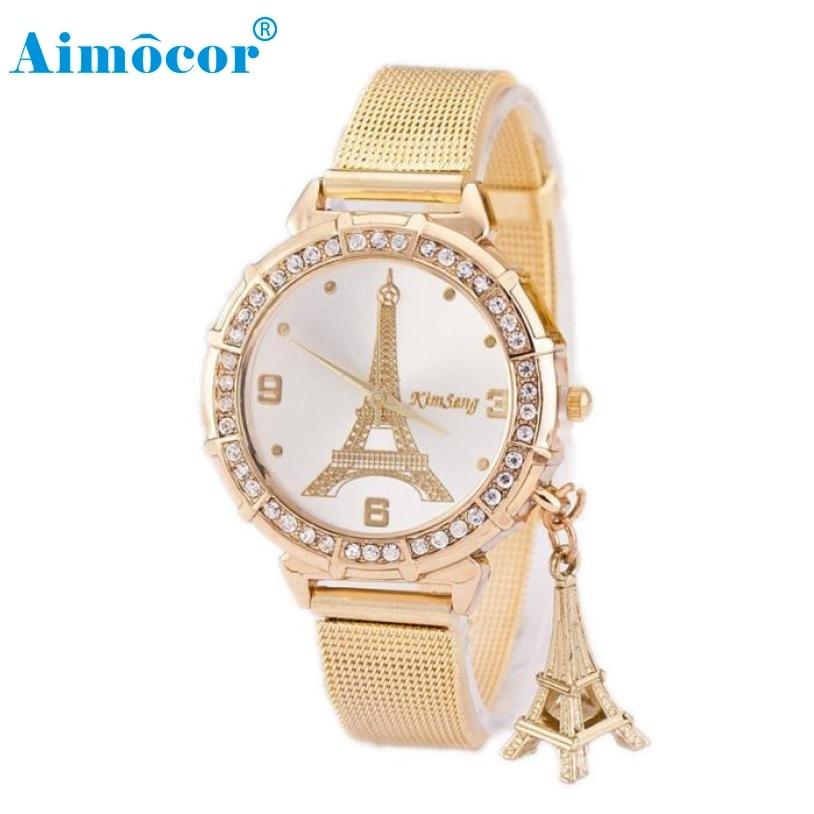 Relogio feminino 2017 das mulheres relógios de pulso senhoras torre ouro malha de aço inoxidável banda relógio de pulso relojes mujer marca de lujo4