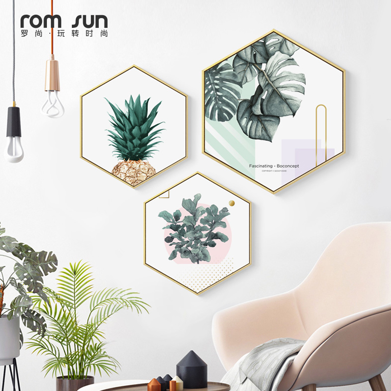 все цены на Nordic Hexagon Green Plant Canvas Painting HD Cactus Pineapple Wall Pictures For Living Room Fashion Home Decor Poster Wall Art