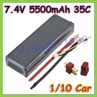 GE 7.4V 5500mAh 35C 2S RC LiPo Battery Hard Case for 1/10 RC Car Traxxas Tamiya + T plug+free shipping