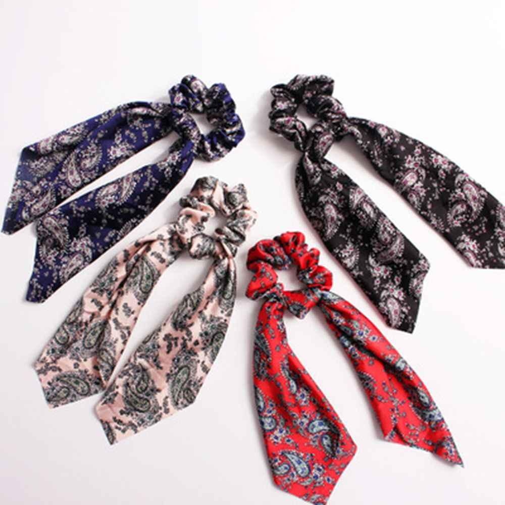 1pcs Women Vintage Big Bow Elastic Knot Ribbon Scrunchies Print Fabric Hair Ties Hair Holder Satin Hairbands Hair Accessories