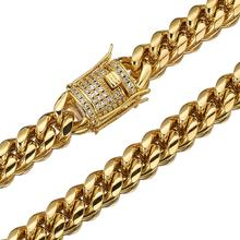 Granny Chic 12mm New Arrival Mens Gold Color Stainless Steel Miami Curb Cuban Chain Necklace 16-40