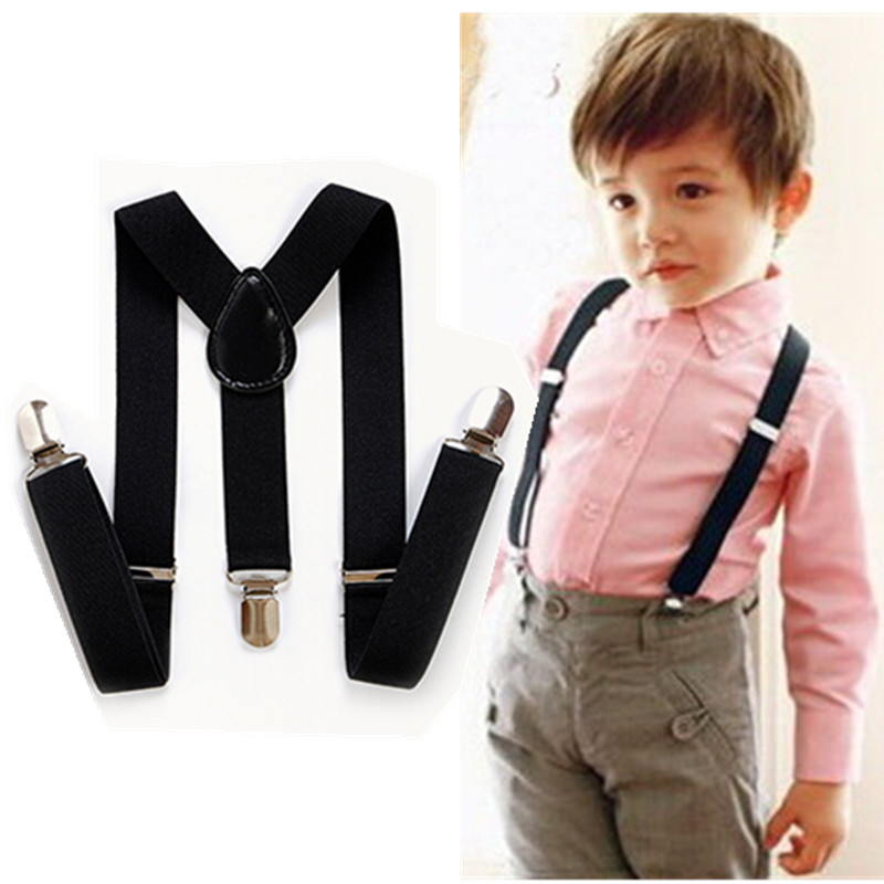 S Size Cool 40 Solid Color Adjustable Baby Suspenders Y-back 3 Clip Elastic Kids Braces 1-8 Years Boys Girls Accessories BD001-S