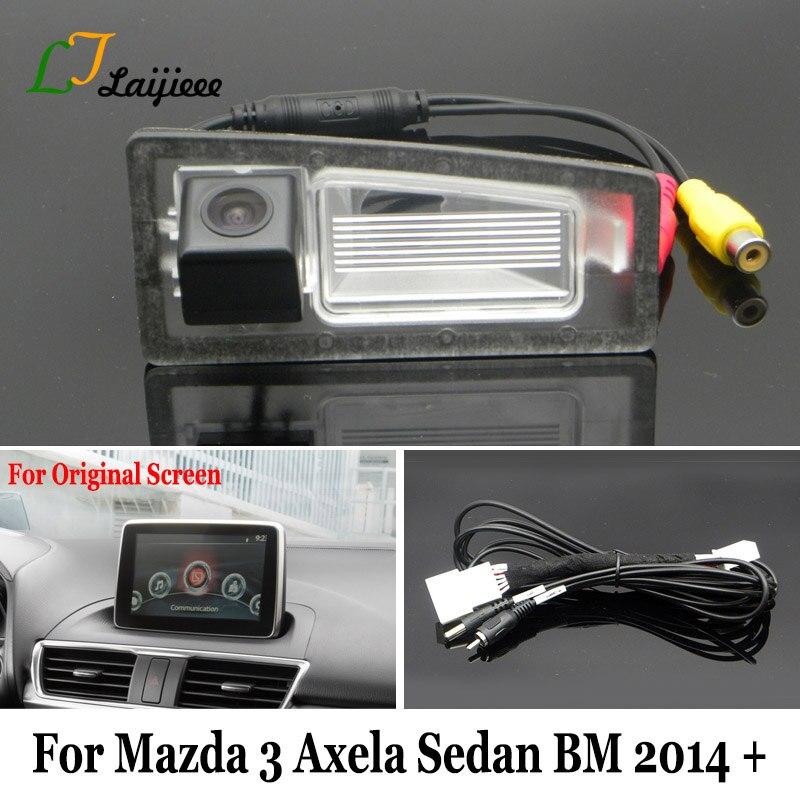 LJLAIJIEEE Backup Camera For Mazda 3 Mazda3 Axela Sedan BM 2014~2017 2018 2019 / OEM Monitor Compatible Rear View Camera Car