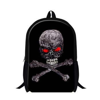 Backpack Skull Print Cool Fashion Skeleton Double Shoulder Backpack