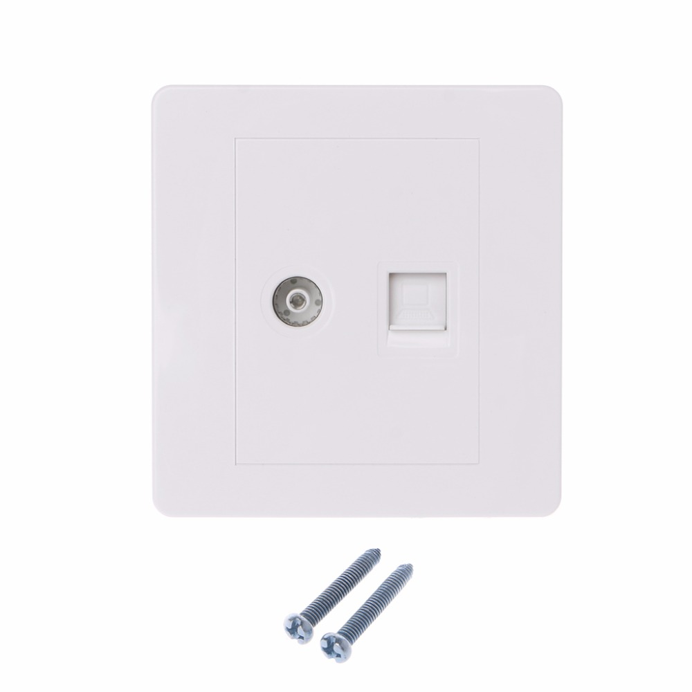 Custom wall plate Cat6 RJ45 and 2 x Antenna F-Type