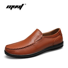 Full grain leather men shoes top quality flats handmade casual for