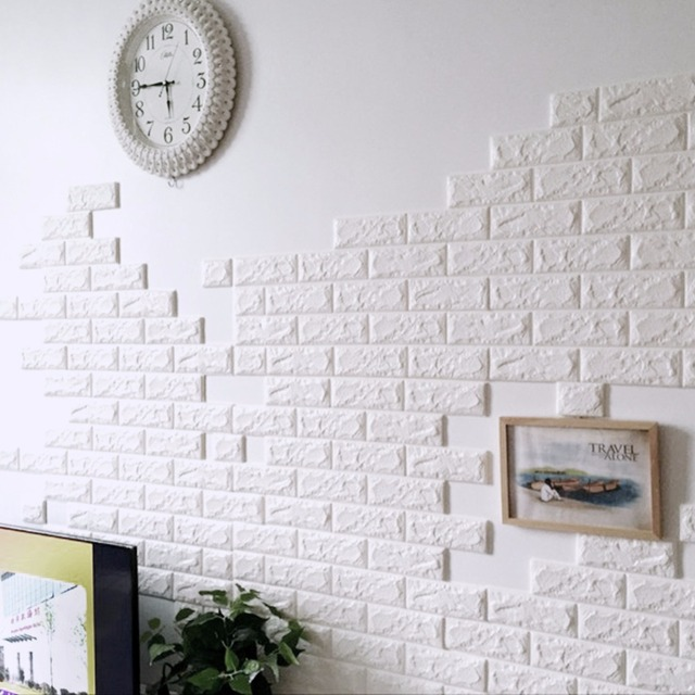 3D Brick Wall Panel Waterproof Self Adhesive Brick Wall Sticker DIY PE Foam  3d Decorative