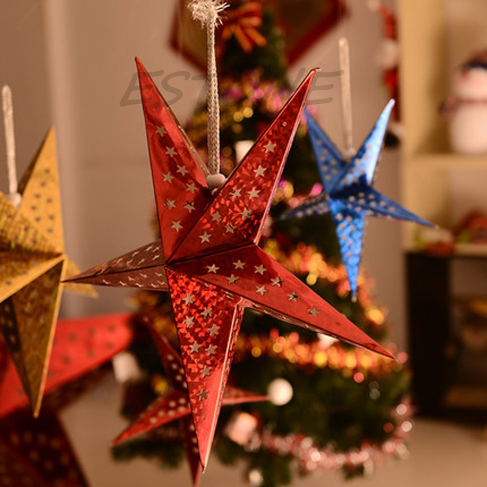 2015 New 30cm Christmas Star Paper Lantern Lampshade Wedding Party Home Xmas Hanging Decorations China