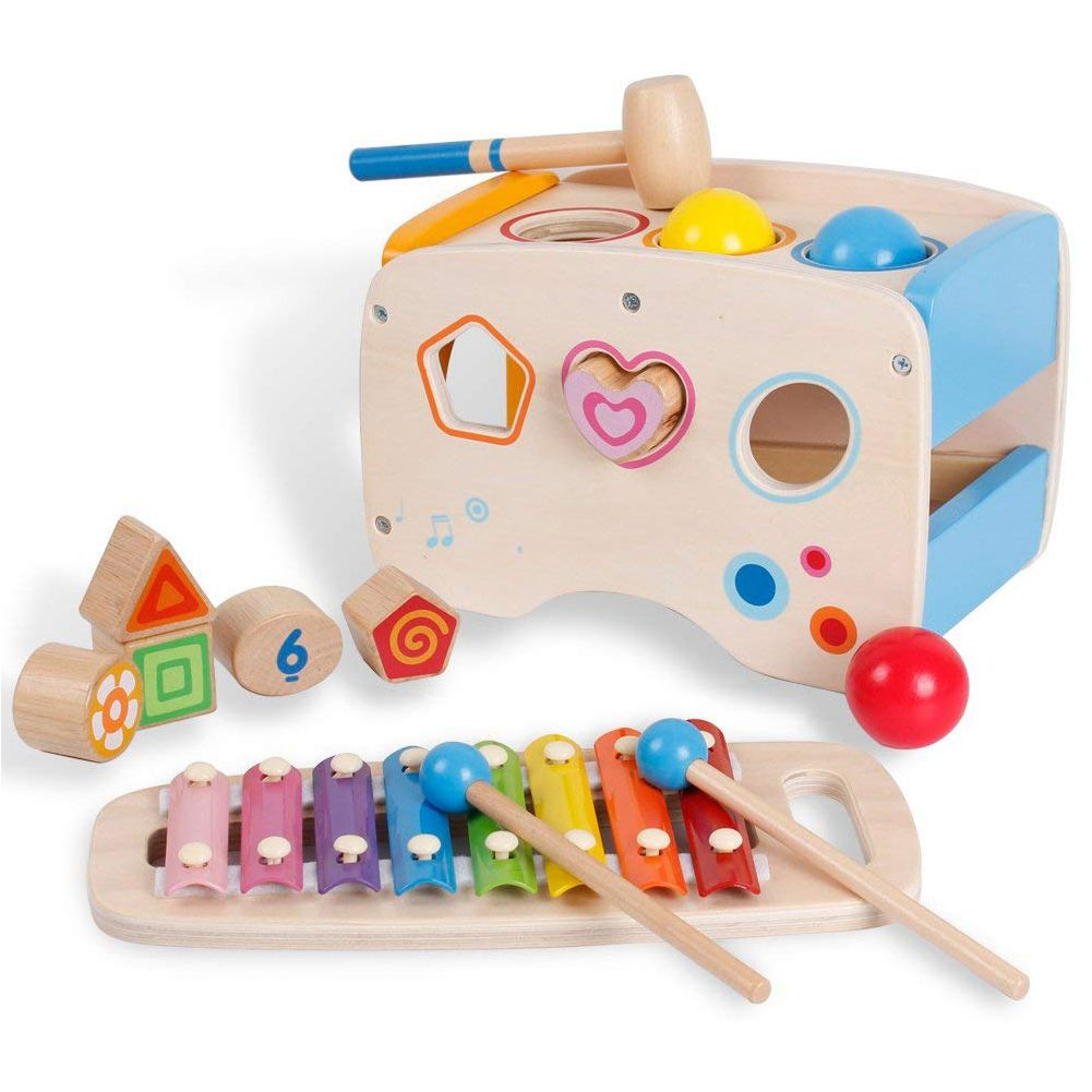 3 in 1 Wooden Educational Set Pounding Bench Toys with Slide out Xylophone and Shape Matching Blocks for KidsToddlers 1 Year Old image