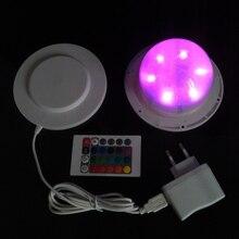 D120mm RGBW multi-color remote control 6pcs lithium battery powered led Nightlight base 20pcs