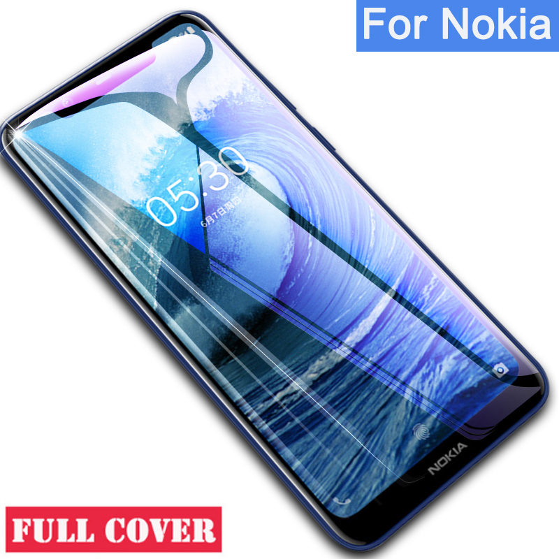 Tempered <font><b>Glass</b></font> For <font><b>Nokia</b></font> 5 6 7 Plus 8 9 2.1 3.1 5.1 <font><b>6.1</b></font> 7.1 X5 X7 Protective <font><b>glass</b></font> <font><b>Case</b></font> full cover Screen Protector safety Film image