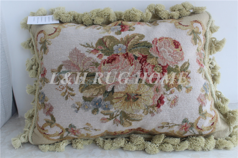 FREE SHIPPING 15K 12X16 Needlepoint pillow, handknotted cushion with rose floral designs no insertion
